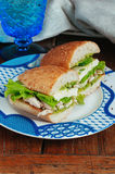 Health sandwich with pesto. Sandwich with pesto, chicken and mozzarella cheese Stock Images