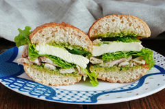 Health sandwich with pesto. Sandwich with pesto, chicken and mozzarella cheese Royalty Free Stock Images
