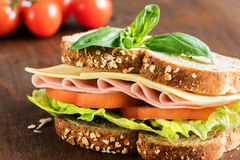 Health sandwich with whole wheat bread. Royalty Free Stock Photos