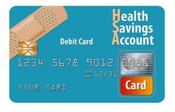 This is a health savings account debit card. It is an illustration showing a generic card to illustrate this health insurance related debit card stock illustration