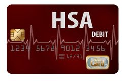 A Health Savings Account debit card stock illustration