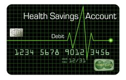 A Health Savings Account debit card is pictured here. stock illustration