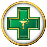 Health services sign, symbol. Medicine snake symbol, cross Royalty Free Stock Photos