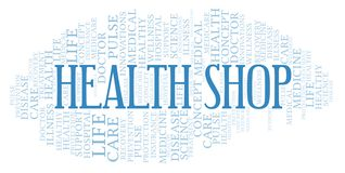 Health Shop word cloud. Wordcloud made with text only stock illustration