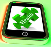 Health Smartphone Means Looking After Yourself And Wellbeing Stock Image