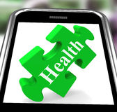 Health Smartphone Shows Wellness And Fitness Royalty Free Stock Photography