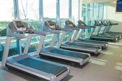 Health Spa. Upscale Health Exercise Room treadmills Stock Image