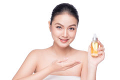 Health, spa and beauty concept. Asian woman with perfect skin ho Stock Image