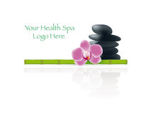Health Spa Decoration. With Stack of Lastone Pebbles, Bamboo Pole and Orchid Stock Photo