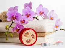 Health spa and flower orchid. Spa treatment - relax with candles. Stock Images