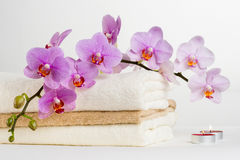 Health spa and flower orchid. Spa treatment - relax with candles. Royalty Free Stock Photos