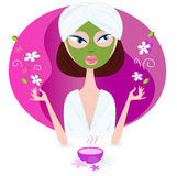 Health and spa: girl enjoying aromatherapy. Young woman is practicing aromatherapy with nature flowers. Vector illustration of beauty girl isolated on pink Royalty Free Stock Image