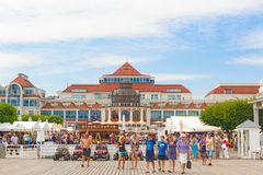 Health Spa House in Sopot, Poland. Sopot, Poland - July 21, 2015: Art Noveau style Health Spa House and restaurant with red roof tile against blue sky, Sopot Royalty Free Stock Image