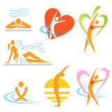 Health_spa_sauna_icons. Set of health, sauna, spa icons. Vector illustration Royalty Free Stock Photo
