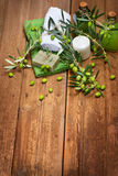 Health spa setting of green olives Royalty Free Stock Photography