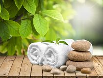 Health Spa. Towel Bamboo Stone Pebble Wellbeing Zen-like royalty free stock photos
