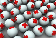 Health spheres. Spheres with red cross in them Royalty Free Stock Image