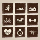 Health and sport icons. Over gray background  illustration Royalty Free Stock Photos