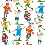 Health sport seamless pattern background wellness flat people characters sporting man activity woman athletic vector Stock Photography