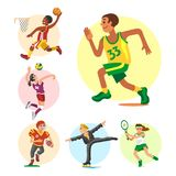 Health sport and wellness flat people characters sporting man activity woman athletic vector Illustration. Stock Images