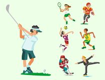 Health sport and wellness flat people characters sporting man activity woman athletic vector Illustration. Royalty Free Stock Photo