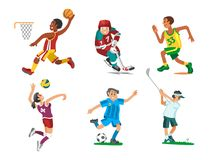 Health sport and wellness flat people characters sporting man activity woman athletic vector Illustration. Royalty Free Stock Images