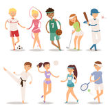 Health sport and wellness flat people characters sporting man activity woman athletic vector Illustration. Stock Photography