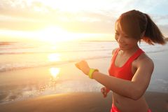 Health sport woman with smart watch Royalty Free Stock Photo