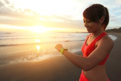 Health sport woman with smart watch Royalty Free Stock Image