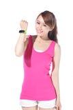 Health sport woman wearing smart watch Stock Photo
