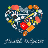 Health and sports emblem in heart shape Stock Images