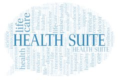 Health Suite word cloud. Wordcloud made with text only royalty free illustration