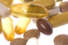 Health Supplements Macro Isolated Royalty Free Stock Images