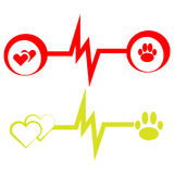 Health  symbols with dog paw and hearts on white background. ECG symbols with dog paw on white background. Vector illustration.  Set of vet symbols Royalty Free Stock Photos