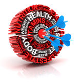 Health target, formed by words 3d render Stock Photo