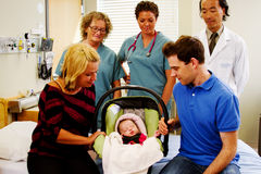 Health team saying good bye to new born Stock Photography