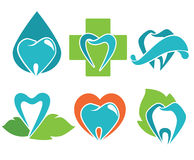 Health teeth. Vector collection of healthy teeth, dental symbols and icons Royalty Free Stock Images