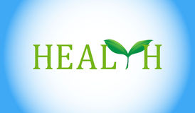 Health text with green plant. Stock Photos