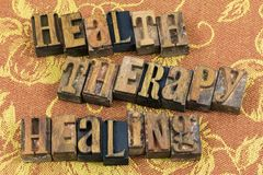 Health therapy healing letterpress royalty free stock images