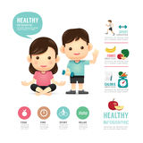 Health time food and sport people program design infographic Stock Photo