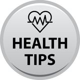 Health tips button. Health tips web button icon - vector illustration on isolated white background Royalty Free Stock Photo