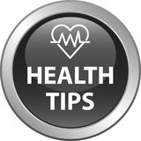 Health tips button. Health tips web button icon - vector illustration on isolated white background Stock Images