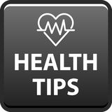 Health tips button. Health tips web button icon - vector illustration on isolated white background Royalty Free Stock Images