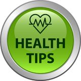 Health tips button. Health tips web button icon - vector illustration on isolated white background Stock Photo