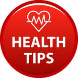 Health tips button. Health tips web button icon - vector illustration on isolated white background Royalty Free Stock Photography