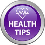 Health tips button. Health tips web button icon - vector illustration on isolated white background Stock Image
