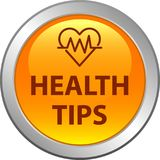 Health tips button. Health tips web button icon - vector illustration on isolated white background Stock Photos