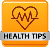 Health tips button. Health tips web button icon - vector illustration on isolated white background Royalty Free Stock Photos