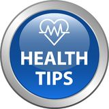 Health tips button. Health tips web button icon - vector illustration on isolated white background Stock Photography
