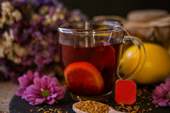 Health, traditional medicine, folk remedy concept - cup of tea w Royalty Free Stock Images